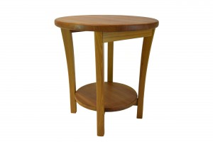 Round teak lamp table
