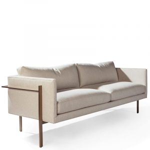 Thayer Coggin Sofa Drop In Fabric Brushed Bronze Front