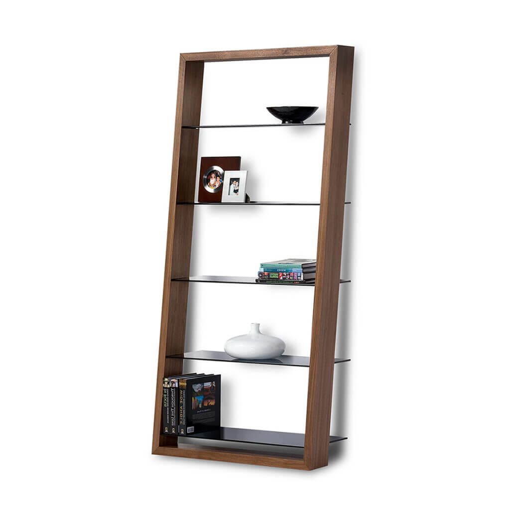 BDI Eileen Bookcase Natural Walnut Glass Shelves