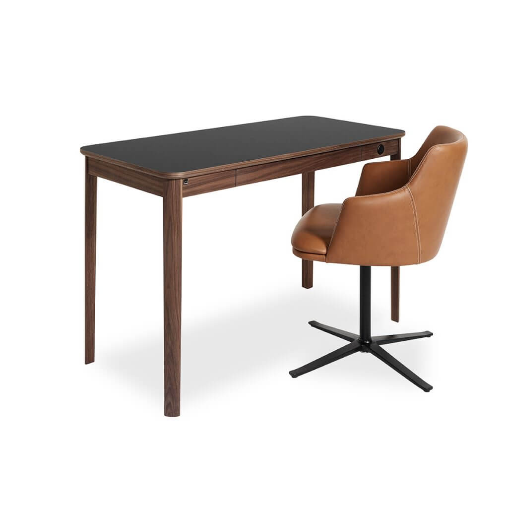 Skovby 131 Desk Black Top Walnut With Chair