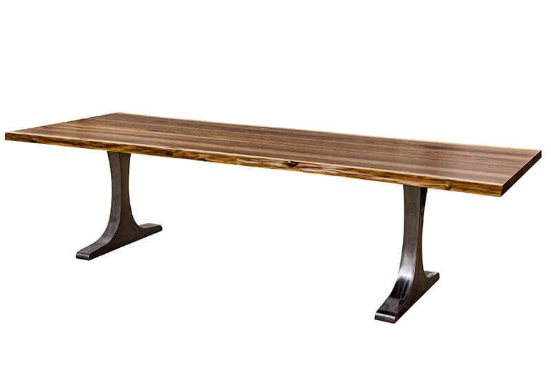 Live Edge Walnut Dining Table T Base