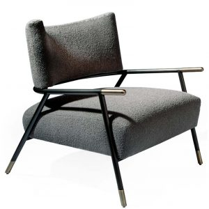 Thayer Coggin Kai Powder Black Brushed Bronze Sabots Lounge Chair