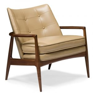 Thayer Coggin Draper Tan Walnut Lounge Chair