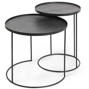 Ethnicraft 20721 Round Tray Side Table Set